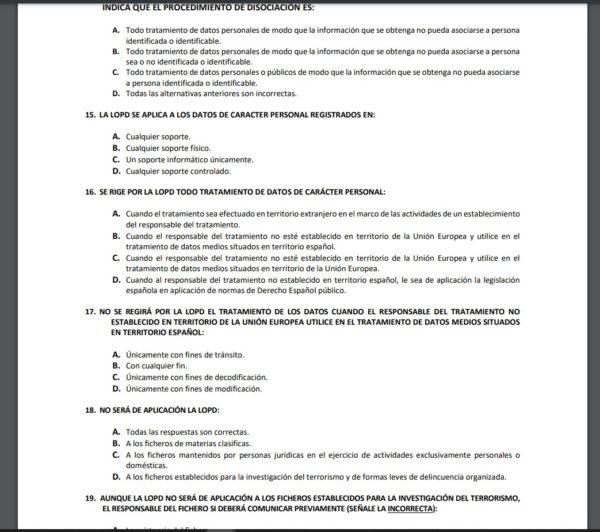 100 preguntas tipo test sobre la Ley de Protección de Datos Personales