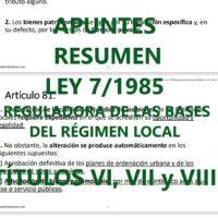 Resumen Ley Reguladora de las Bases de Régimen Local